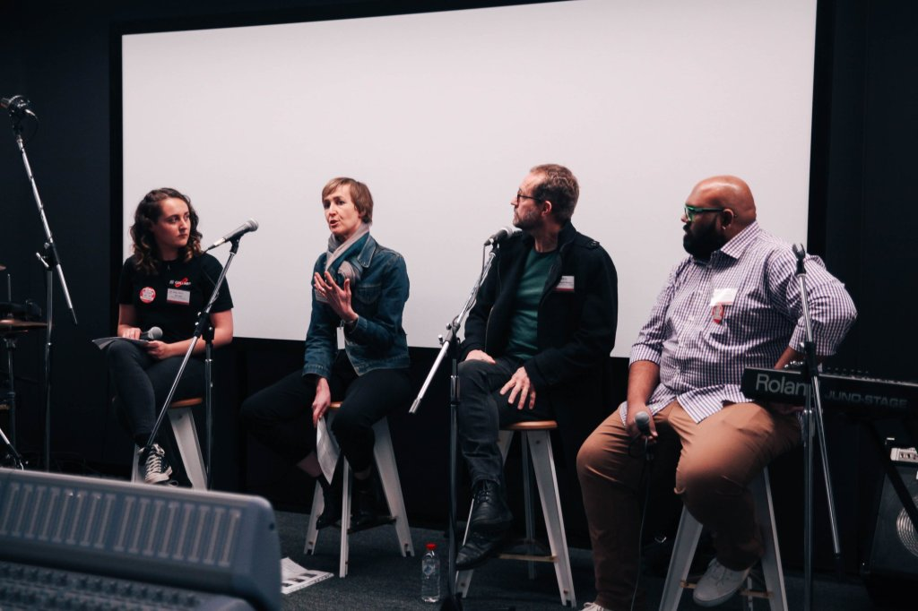[Pictured]: Erin facilitating a creative discussion panel with teachers at Collarts Open Day 2018.